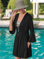 Swim - Peplum Sleeve Tunic Cover-Up