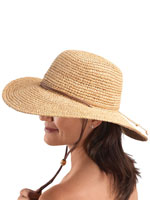 Hats, Scarves & Gloves - Raffia Wide Brim Leather Cord Hat